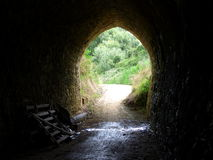 Ghost puddle in the tunnel on Alps to Ocean cycle ride in  New Zealand Royalty Free Stock Photos