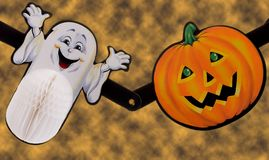 Ghost and pumpkin Royalty Free Stock Photo