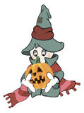 Ghost and a pumpkin cartoon Royalty Free Stock Photo