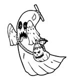 Ghost with pumpkin. Character line art illustration stock illustration