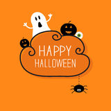 Ghost, pumpkin, eyeball, hanging spider. Happy Royalty Free Stock Photos