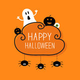Ghost, pumpkin, eyeball, three hanging spiders. Happy Halloween card. Cloud frame Orange background Flat design. Vector illustration Royalty Free Stock Image