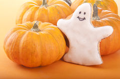 Ghost with pumpkin stock image