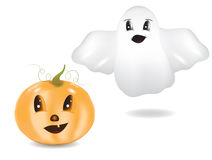 Ghost and pumpkin Stock Photos