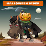 Ghost rider with axe in the midnight darkness Stock Photos