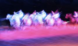 Ghost Riders. Motion Blur on horses and Riders stock photo