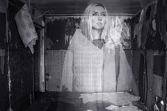 Ghost in a room. Ghost in an abandoned room Stock Image