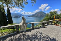 Ghost's sculpture overlooks the Como lake Royalty Free Stock Photography