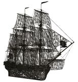 Ghost sailboat. 3D rendered ghost sailboat rendered on white background isolated Royalty Free Stock Image