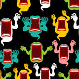 Ghost seamless pattern. Terrible howling wraith background. Mons Royalty Free Stock Photo