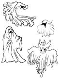 Ghost Set. Set of 4 hand drawn ghosts, black and white Stock Image