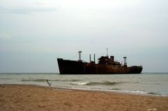 Ghost ship. A shipwrecked boat close to the shore stock photos