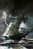 Ghost ship. An old, damaged and rusty sailboat, navigating under the storm