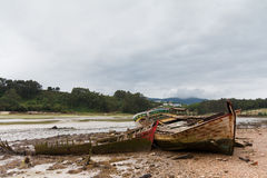 Ghost ship. An abandoned ship in the spanish coast (Lugo, Galicia stock images