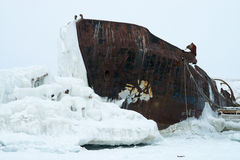 Ghost ship. Abandoned ship in the ice Royalty Free Stock Images