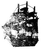 Ghost ship black grunge template. Isolated on white background. Flying Dutchman. Stock Photo