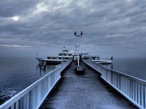 Ghost ship. The ferry crossing from France to Switzerland Stock Images