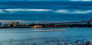Ghost ship glides along the Mississippi River in Baton Rouge Royalty Free Stock Images