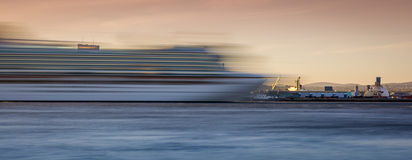 Ghost Ship. Long exposure shot of a cruise ship Royalty Free Stock Photo