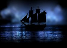 Ghost ship in the night fog Royalty Free Stock Images