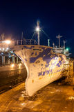 Ghost Ship. Russian fishing vessel on the dock for repairs at the Gdansk Shipyard Stock Photography