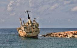 Ghost ship. Shipwrecks in the sea with Cyprus. Edro 3 Stock Photos