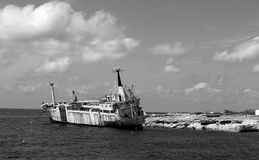 Ghost ship. Shipwrecks in the sea with Cyprus. Edro 3 Royalty Free Stock Photo