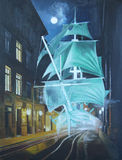 Ghost ship. In the street the old town. Art Oil stock illustration