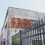 Ghost signs. Signes, located next to the public market in rochester ny stock photography