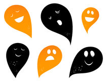 Ghost silhouettes. Happy Ghost & Creatures silhouettes collection. Vector Stock Photo