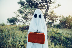 Ghost with suitcase royalty free stock image