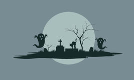 Ghost in tomb scary Halloween. With gray backgrounds Royalty Free Stock Images