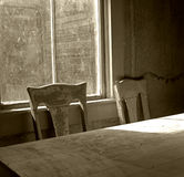 Ghost Town. Sepia Toned Dining Room ,1860's ghost town,Bodie,California royalty free stock photo