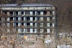 Ghost town abandoned workers homes luxury architecture. Former rich mining city Stock Photos
