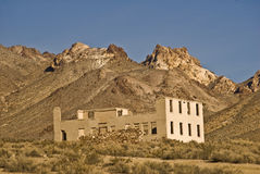 Ghost Town Bank. This is a picture of the ruins of an abandoned bank at Rhyolite, Nevada, a ghost town near Beatty, Nevada, and Death Valley National Bank Royalty Free Stock Photo