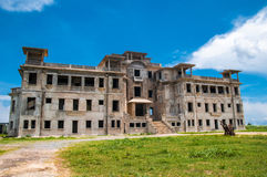 Ghost town Bokor Hill. Kampot. Cambodia .  Abandoned hotel `Bokor Palace` in Ghost town Bokor Hill station near the town of Kampot. Cambodia Stock Photos