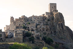 Ghost town of Craco. The abandoned village of Craco in Basilicata (Italy). This town was abandoned in 1963 cause landslide. Insert in the Watch List 2010 of WMF Royalty Free Stock Image