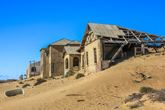 Diamond mines. Kolmanskop, ghost towns in the area of the diamond mines, South Namibia, esterior of a house Royalty Free Stock Photography