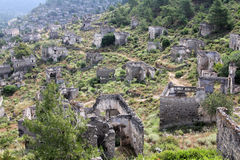 Ghost town of Kayakoy Turkey. View of ghost town of Kayakoy Turkey stock images