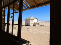 Ghost town Kolmanskop - view in the desert - Namibia Africa royalty free stock images
