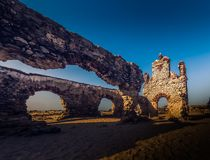 Ghost town - Rameshwaram, India. Ruins of the small village Dhanushkodi Royalty Free Stock Photo