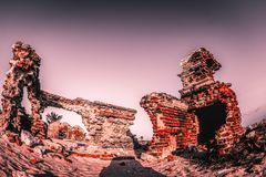 Ghost town - Rameshwaram, India. Ruins of the small village Dhanushkodi Stock Photos