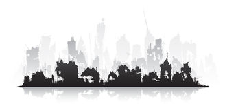 Ghost town. Ruined city silhouette on a white background isolated vector illustration