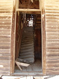 Ghost Town Stairway. Delapitated stairway inside buildling at historic Montana Ghost Town. Town was settled in 1870s and abandoned after Silver mines were Royalty Free Stock Image