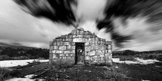 Ghost Town stone building in the Nevada Desert in Black and White. Stock Image