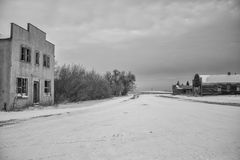 Ghost town in the winter. Black and white photo of a ghost town in the winter Royalty Free Stock Photography
