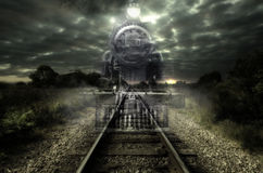 Ghost train. Old steam locomotive seems like a ghost train. Art design stock illustration