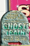 Ghost train sign for pier Stock Image