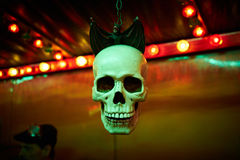 Ghost train skull with bat Royalty Free Stock Images