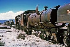 Ghost Trains in Bolivia,Bolivia. Gohst Train near  Salar de Uyuni at Eduardo Avaroa National Reserve,Bolivia Stock Photos
